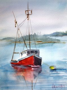 The red lobster boat, painting by artist Nita Leger Casey