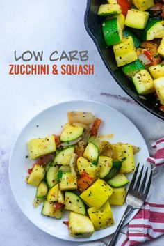 Sauteed Zucchini and Squash - this low carb side dish just tastes like summer and it& ready in about 15 minutes too! Low Carb Side Dishes, Healthy Side Dishes, Side Dishes Easy, Carrot Recipes, Bacon Recipes, Keto Recipes, Sauteed Zucchini And Squash, Baked Chicken Drumsticks, Vegetable Cake