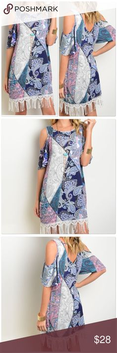 Mixed Print Fringe Dress Exposed Shoulders This mixed print dress features short sleeves, exposed shoulders, fringe trim and a round neckline  Color: Navy Teal Pink  Fabric Content: 100% POLYESTER Size Scale: S-M-L Dresses