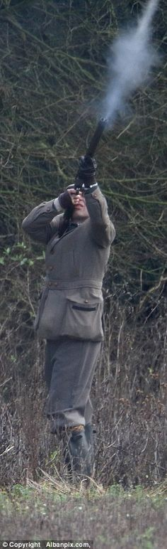 1/4/16. Taking aim: Prince Edward was seen firing his shotgun on the Sandringham estate on a family hunting day out