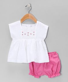 Take a look at this White & Magenta Smocked Top & Bloomers - Infant by Fantaisie Kids on #zulily today!