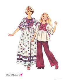 1970s Girls Caftan Vintage Pattern - UNCUT and FF Simplicity 6001 - Girls Caftan Sewing Pattern