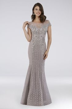 You\'ll look dazzling in this beaded lace mermaid dress, topped with a shimmery illusion neckline and finished with an elegant sweep train. By Lara Polyester, lycra Back zipper; fully lined Spot c Mermaid Gown, Lace Mermaid, Mermaid Dresses, Groom Wedding Dress, Groom Dress, Wedding Dresses, Bride Dresses, Mother Of The Bride Gown, Davids Bridal Dresses