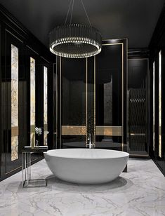 100 Must-See Luxury Bathroom Ideas   Luxury Bathroom Ideas that will open up your horizons as to how innovative bathrooms can get as far as using bathtubs is concerned. Get inspired by a range of bathroom styles that goes from hyper-luxury to the contemporary style. The same for materials for your master bathroom, from the finest gold to wood, from lacquer to metal   www.bocadolobo.com #bocadolobo #luxuryfurniture #exclusivedesign #interiodesign #designideas #homedecor #homedesign #decor…