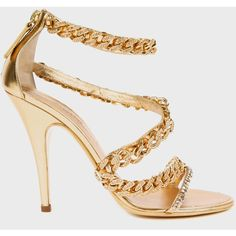 Balmain Gold High- Heeded Mirror Metal Sandal found on Polyvore