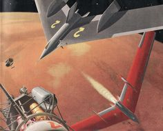 The cropped illustration above, by Chesley Bonestell shows four of the ten spacecraft von Braun imagined would undertake the journey