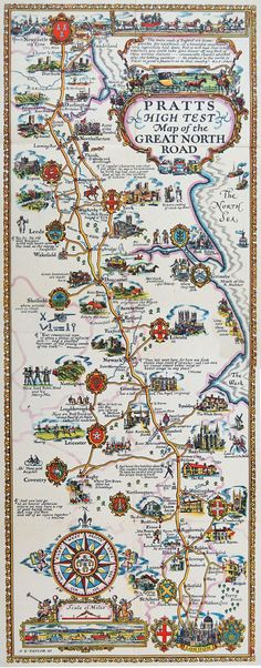 The Great North Road Map by A.E. Taylor, ca. 1930
