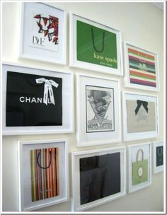 """Such an amazing, no-duh idea! So... I insist on saving those extra thick & glossy shopping bags from the few actual big  """"designer"""" purchases I've made... But what do you do with them?? Frame them!! Total genius. Awesome in/near the closet, powder room... dressing area... makeup vanity... Love."""