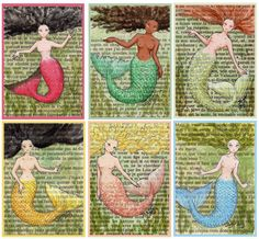 Mermaids Postcards  Set of 12 by CastleOnTheHill on Etsy, $8.50