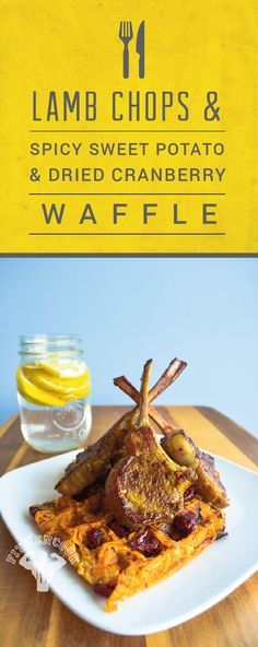 Lamb Chops & Spicy-Sweet Potato & Dried Cranberry Waffle. Certified post workout muscle food. #postworkout #waffle #breakfast #lambchops #fitmencook #fitwomencook