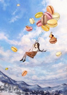 When I take a bite of a sweet macaron, happiness fills in my mouth, giving me the feeling of riding a swing sky high ~ Aeppol Art And Illustration, Illustrations, Cartoon Kunst, Cartoon Art, Forest Girl, Girl And Dog, Whimsical Art, Anime Art Girl, Cute Drawings