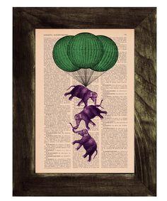 Vintage book print Elephant hot air  Balloon Print on Vintage Book - . $6.99, via Etsy.
