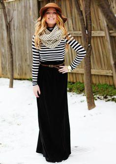 stripes, infinity scarf, maxi skirt // via the glorious @Austin Case