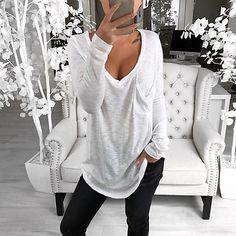 Basic Tops, V Neck Blouse, Types Of Collars, V Neck Tops, Types Of Sleeves, Long Sleeve Tops, Plus Size, T Shirts For Women, Pink White