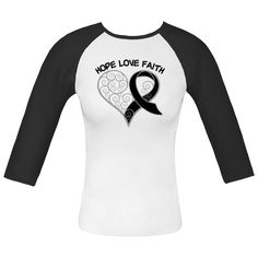 Melanoma Hope Love Faith Swirl Heart White and Black Fitted Raglan T-Shirt | Awareness Ribbon Shirts at Gifts4Awareness.Com