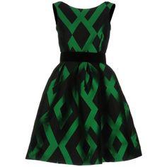 P.a.r.o.s.h. Short Dress (1.705 DKK) ❤ liked on Polyvore featuring dresses, green, short green dress, short flare dress, zipper dress, green pleated dress and flare dresses