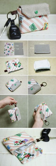 Card Wallet Key Chain Tutorial. DIY step-by-step in Pictures. www.handmadiya.co...