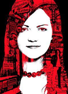 Meg White of White Stripes - part portrait, part collage