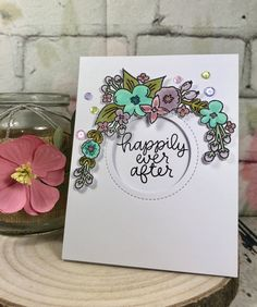 Happily Ever After card using the Avery Elle Floral Frame stamp set www.sharon-curtis.com #averyelle #mft #myfavoritethings #copicmarkers