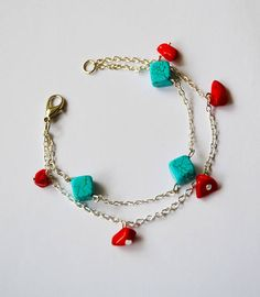 Handmade Bracelet Gemstone Turquoise Red Coral Chip Beads