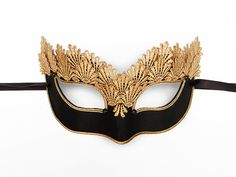 Black & Gold Lace Masquerade Mask  Venetian Style by SOFFITTA
