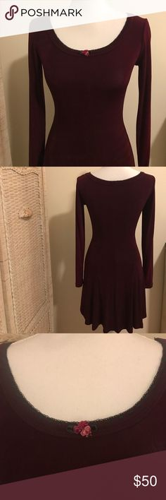 NWT BETSEY JOHNSON SKATER DRESS!! Beautiful cranberry Betsey Johnson skater dress made of acetate and spandex to create a form fitting and flattering look featuring black detailing around the neck. Betsey Johnson Dresses