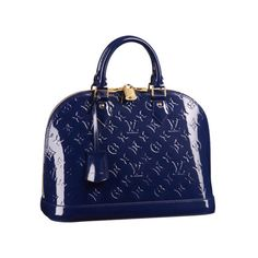 Louis Vuitton Alma PM Bag in Grand Bleu ❤ liked on Polyvore featuring bags, handbags, louis vuitton handbags, louis vuitton, blue purse, louis vuitton purses and blue bag