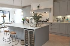 Shaker Kitchen Design With A Mix Of Shades From Our Natural Colour Palette Light Grey & Dust Grey. Open Plan Kitchen Dining Living, Real Kitchen, Living Room Kitchen, Kitchen Room Design, Kitchen Interior, Kitchen Decor, Interior Modern, Grey Shaker Kitchen, Shaker Style Kitchens