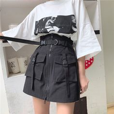 Mar 15 2020 Womens Summer Harajuku Skirt with Belt Pocket Zipper Damen Sommer Harajuku Rock mit Gürtel Tasch Edgy Outfits, Teen Fashion Outfits, Korean Outfits, Retro Outfits, Cute Casual Outfits, Skirt Outfits, Buckle Outfits, Korean Clothes, Japanese Outfits