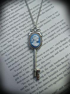 Victorian Cameo Key Necklace