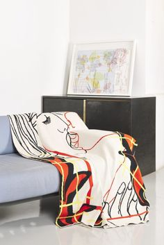Artists Reza Farkhondeh & Ghada Amer have partnered with Goodman Gallery to produce the first in a series of cotton, limited edition, knitted textiles, ethically produced by Something Good Studio. Ghada Amer, Sweet Home, Textiles, Colours, Artists, Blanket, Interior Design, Studio, Gallery