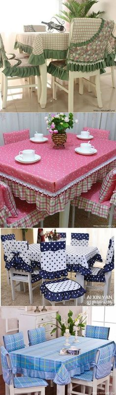 для дома Hermosos manteles y forros para sillasHermosos manteles y forros para sillas Chair Covers, Table Covers, Sewing Projects, Diy Projects, Cushions, Pillows, Deco Table, Home And Deco, Decoration Table