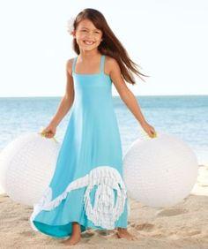 aqua swirly ruffles maxi girls dress