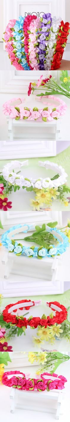New Colorful Ribbon Rose Flower Hairband Baby Hair Band Children Hair Accessories Girls Flower Headbands Scrunchy
