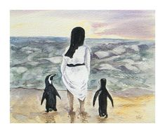 Original watercolor, Penguins and Nun, Seaside painting, Beach art, African penguin , beach house decor, cute penguin picture