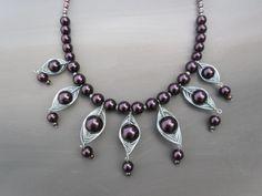 Homemade statement necklace / dark purple / herringbones / ladies jewelry / handmade jewelery / wire wrapped beads by JHFWBeadsAndFindings :)