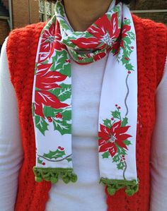 "Holiday colors and a loud swatch of fabric/dish towel/scarf/piece of vintage table cloth etc ---perfect solution/inspiration for ""ugly"" sweater party! Embroidery Designs, Embroidery Transfers, Vintage Embroidery, Hand Embroidery, Fabric Crafts, Sewing Crafts, Sewing Projects, Sewing Art, Sewing Tips"
