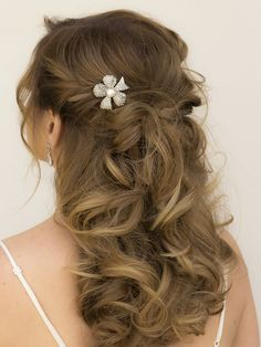 Rhinestone & Pearl Bow Bridal Hair Comb ~ Fiona - Designer Bridal Hair Accessories & Jewelry by Hair Comes the Bride including Hair Combs, Bridal Hair Pins, Tiaras, Headbands and Veils