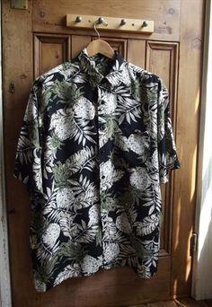 mens vintage Hawaiian shirt tropical pineapple rockabilly from  dollytopsyvintage Man Pants aa81035f7