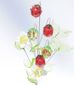White Glass Posy Strawberries Flowers Handmade HOME s Ornament from Czech REP.