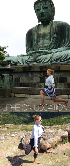Lither Tara Ann Carter sent us two shots of her in front of the Great Buddha (called Daibutsu) in Kamakara in the Kanagawa Prefecture in Japan, and doing a perfect Attitude Swing in Acadia National Park in Northern Maine!  Tara, great form even in a short dress and sandals!