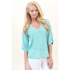 This sold out quickly!  Chevron and On Blouse-Mint - $40.00