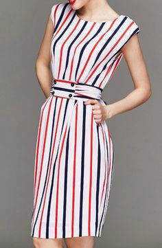 abaday offers Multicolor Sleeveless Vertical Stripe Tie-Waist Dress & more to fit your fashionable needs. Trendy Dresses, Casual Dresses, Summer Dresses, Chic Outfits, Dress Outfits, Striped Dress Outfit, Modest Fashion, Fashion Dresses, Modele Hijab