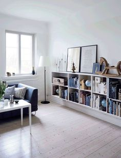 Bookshelf, Fascinating Low Bookshelves Narrow Bookcase Long Low White Bookshelves With Books Lamp Sofa Pillow And Vas: astounding low bookshelves Home Living Room, Living Room Decor, Living Spaces, Low Bookshelves, Ikea Billy Bookcase, Low Shelves, Shelving, Home And Deco, Living Room Inspiration