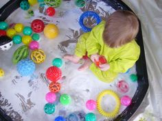 Clam shells work well to contain sensory play