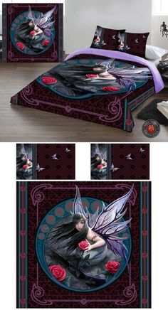 Anne Stokes Rose Fairy Double Duvet Cover Set - £69.99 : From ANGEL CLOTHING