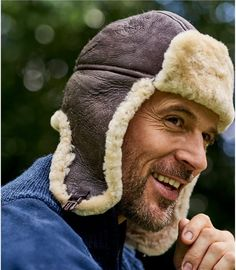 Dark Brown | Mens Sheepskin Aviator Hat | WoolOvers UK