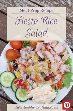 This colourful fiesta rice recipe will liven up your lunchtime salad.  #simplycrafting #budgetrecipes #batchcook #healthiereating #mealinspiration #midweekmeals #fiveaday #homemadefoodisthebest #mumscooking #homecooked #summersalad #ricerecipes