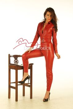 Red Full Grain Leather Catsuit Dress Jumpsuit Genuine Soft Sexy Top image 2