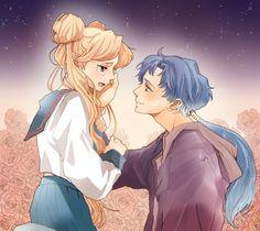 Sailor Moon - Seiya Kou x Usagi Tsukino - SeiUsa Sailor Moon Stars, Sailor Moon Crystal, Sailor Moon Fan Art, Sailor Moon Usagi, Sailor Uranus, Sailor Mars, Stars And Moon, Sailor Moon Background, Sailer Moon